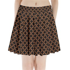 Circles3 Black Marble & Brown Wood Pleated Mini Skirt