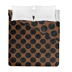 Circles2 Black Marble & Brown Wood (r) Duvet Cover Double Side (full/ Double Size) by trendistuff