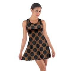 Circles2 Black Marble & Brown Wood (r) Cotton Racerback Dress by trendistuff