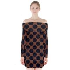 Circles2 Black Marble & Brown Wood (r) Long Sleeve Off Shoulder Dress by trendistuff