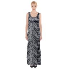 Black Floral Lace Pattern Maxi Thigh Split Dress
