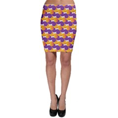 Purple And Yellow Abstract Pattern Bodycon Skirt by paulaoliveiradesign