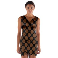 Circles2 Black Marble & Brown Wood Wrap Front Bodycon Dress by trendistuff