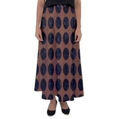 Circles1 Black Marble & Brown Wood (r) Flared Maxi Skirt by trendistuff