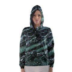 Green Marble Stone Texture Emerald  Hooded Wind Breaker (women) by paulaoliveiradesign