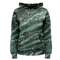 Green Marble Stone Texture Emerald  Women s Pullover Hoodie by paulaoliveiradesign