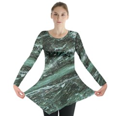 Green Marble Stone Texture Emerald  Long Sleeve Tunic  by paulaoliveiradesign