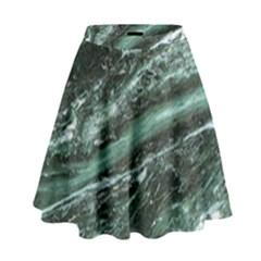 Green Marble Stone Texture Emerald  High Waist Skirt by paulaoliveiradesign