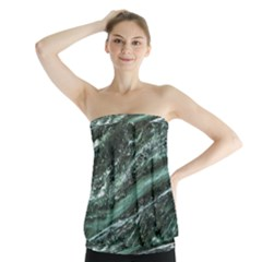 Green Marble Stone Texture Emerald  Strapless Top by paulaoliveiradesign