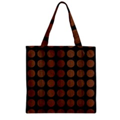 Circles1 Black Marble & Brown Wood Zipper Grocery Tote Bag