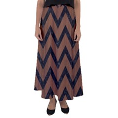 Chevron9 Black Marble & Brown Wood (r) Flared Maxi Skirt by trendistuff