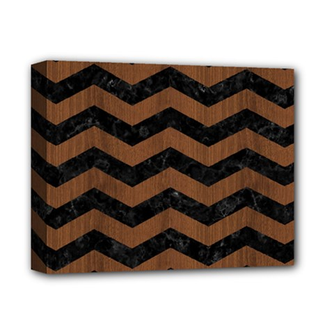 Chevron3 Black Marble & Brown Wood Deluxe Canvas 14  X 11  (stretched) by trendistuff