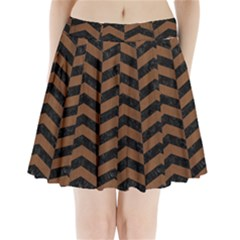 Chevron2 Black Marble & Brown Wood Pleated Mini Skirt