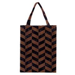 Chevron1 Black Marble & Brown Wood Classic Tote Bag by trendistuff