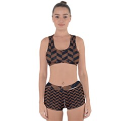 Chevron1 Black Marble & Brown Wood Racerback Boyleg Bikini Set