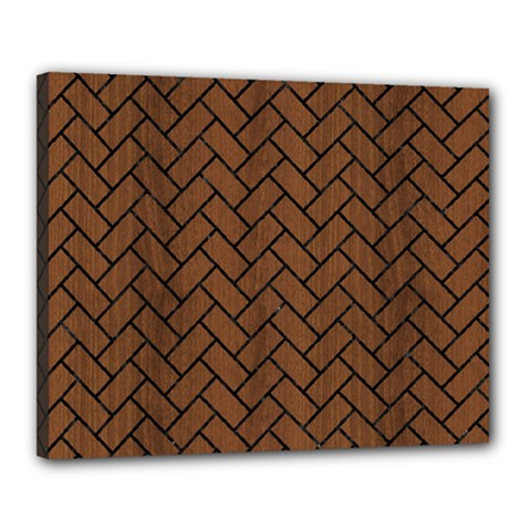 Brick2 Black Marble & Brown Wood (r) Canvas 20  X 16  (stretched) by trendistuff