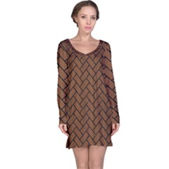 Brick2 Black Marble & Brown Wood (r) Long Sleeve Nightdress by trendistuff
