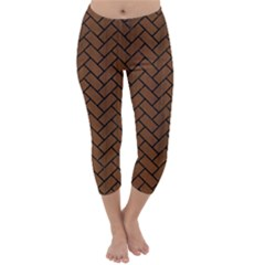 Brick2 Black Marble & Brown Wood (r) Capri Winter Leggings  by trendistuff