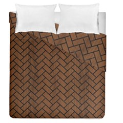 Brick2 Black Marble & Brown Wood (r) Duvet Cover Double Side (queen Size) by trendistuff