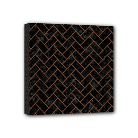 Brick2 Black Marble & Brown Wood Mini Canvas 4  X 4  (stretched) by trendistuff