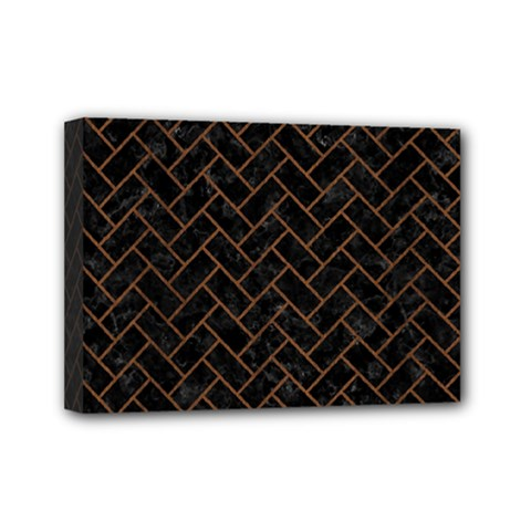 Brick2 Black Marble & Brown Wood Mini Canvas 7  X 5  (stretched) by trendistuff