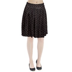 Brick2 Black Marble & Brown Wood Pleated Skirt by trendistuff