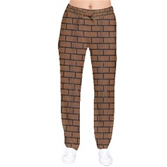 Brick1 Black Marble & Brown Wood (r) Velvet Drawstring Pants by trendistuff