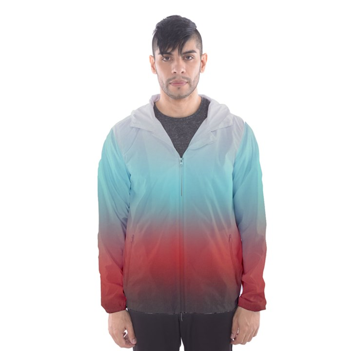 Frosted Blue and Red Hooded Wind Breaker (Men)