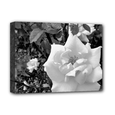 White Rose Black Back Ground Greenery ! Deluxe Canvas 16  X 12   by CreatedByMeVictoriaB