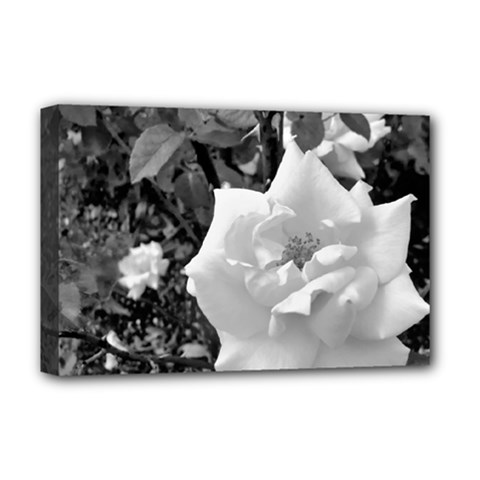 White Rose Black Back Ground Greenery ! Deluxe Canvas 18  X 12