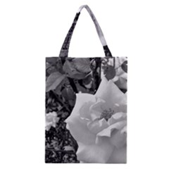 White Rose Black Back Ground Greenery ! Classic Tote Bag by CreatedByMeVictoriaB