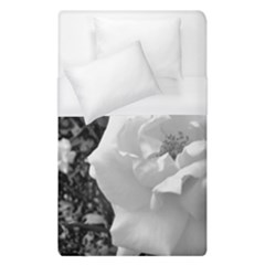 White Rose Black Back Ground Greenery ! Duvet Cover (single Size) by CreatedByMeVictoriaB