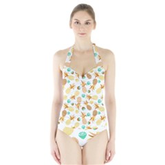 Seamless Summer Fruits Pattern Halter Swimsuit by TastefulDesigns