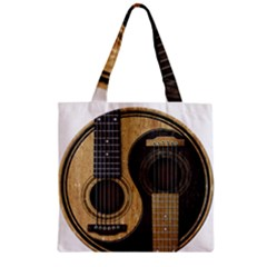 Old And Worn Acoustic Guitars Yin Yang Zipper Grocery Tote Bag by JeffBartels