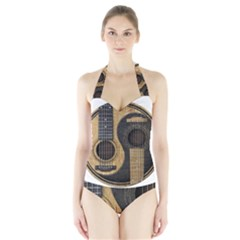 Old And Worn Acoustic Guitars Yin Yang Halter Swimsuit by JeffBartels
