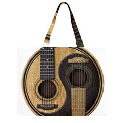 Old And Worn Acoustic Guitars Yin Yang Zipper Large Tote Bag by JeffBartels