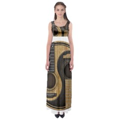 Old And Worn Acoustic Guitars Yin Yang Empire Waist Maxi Dress by JeffBartels
