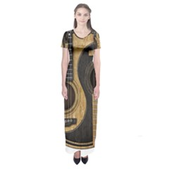 Old And Worn Acoustic Guitars Yin Yang Short Sleeve Maxi Dress
