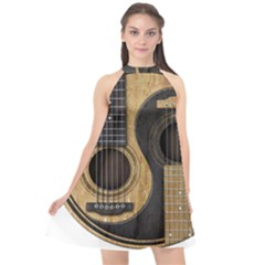Old And Worn Acoustic Guitars Yin Yang Halter Neckline Chiffon Dress