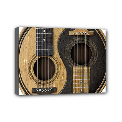 Old And Worn Acoustic Guitars Yin Yang Mini Canvas 7  X 5  by JeffBartels