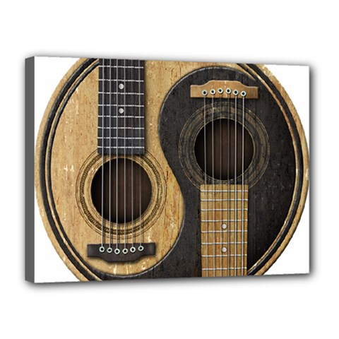 Old And Worn Acoustic Guitars Yin Yang Canvas 16  X 12  by JeffBartels