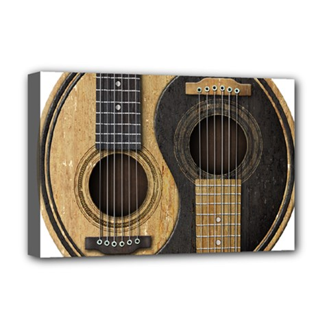 Old And Worn Acoustic Guitars Yin Yang Deluxe Canvas 18  X 12   by JeffBartels