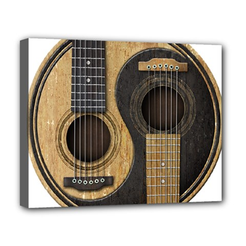 Old And Worn Acoustic Guitars Yin Yang Deluxe Canvas 20  X 16   by JeffBartels