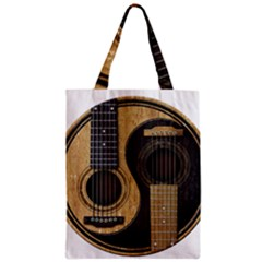 Old And Worn Acoustic Guitars Yin Yang Zipper Classic Tote Bag by JeffBartels