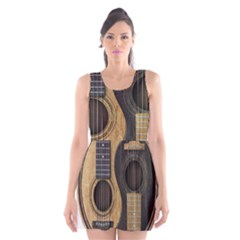 Old And Worn Acoustic Guitars Yin Yang Scoop Neck Skater Dress by JeffBartels