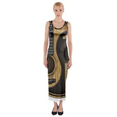 Old And Worn Acoustic Guitars Yin Yang Fitted Maxi Dress by JeffBartels