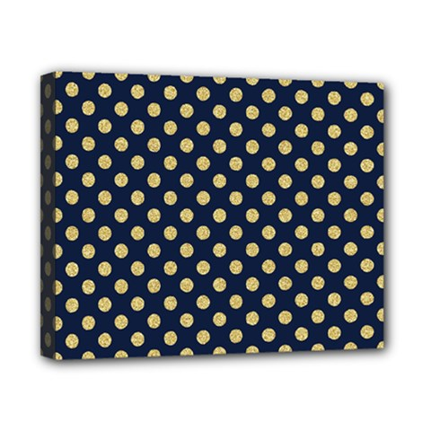 Navy/gold Polka Dots Canvas 10  X 8  by Colorfulart23