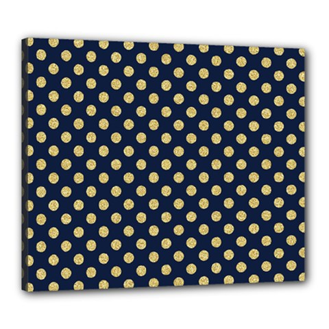 Navy/gold Polka Dots Canvas 24  X 20  by Colorfulart23