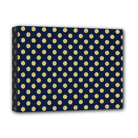 Navy/gold Polka Dots Deluxe Canvas 16  X 12   by Colorfulart23