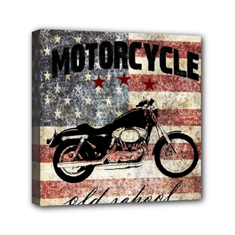 Motorcycle Old School Mini Canvas 6  X 6  by Valentinaart